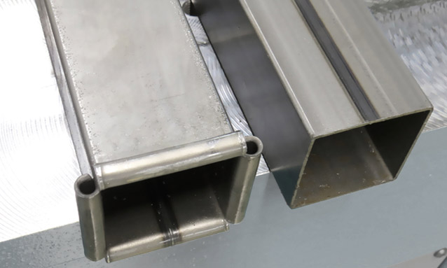 Image of rectangular tube end forming for Construction sector